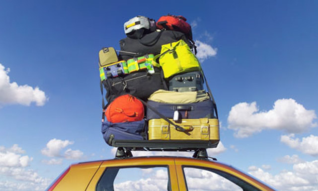 Luggage stacked on car roofrack